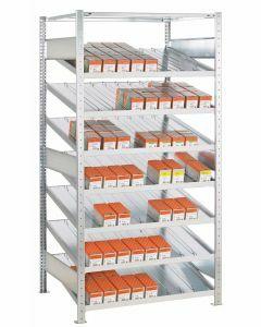 Kanbanregal, Anbauregal, beidseitig nutzbar, H2000xB1300xT800 mm, Ausführung - Ohne Trenn- und Seitenführungen, verzinkt