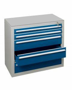 Schubladenblock, H600xB1000xT500mm, RAL 5010 enzianblau - RAL 7035 lichtgrau