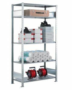 SCHULTE Steckregal, Fachbodenregale Stecksystem, Grundregal, beidseitig nutzbar, H2500xB1300xT300 mm, 6 Fachböden, Fachlast 85 kg, sendzimirverzinkt