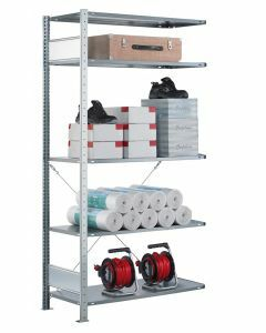 SCHULTE Steckregal, Fachbodenregale Stecksystem, Anbauregal, einseitig nutzbar, H2500xB1300xT300 mm, 6 Fachböden, Fachlast 85 kg, sendzimirverzinkt