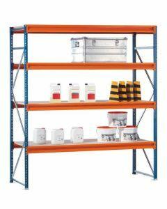 Weitspannregal W 100, Grundfeld mit Spanplatten,  Höhe 2500 mm, Breite 2140 mm, blau / orange / verzinkt